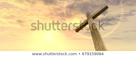 sunset over the old christian church stock photo © pzaxe