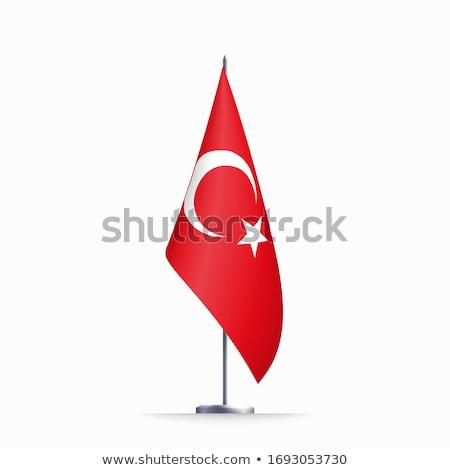 3D vlag Turkije sneeuwvlokken verschillend star Stockfoto © Vectorminator