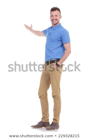 casual man presenting in back stock photo © feedough