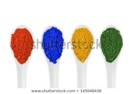 Vibrant color pigments in porcelain spoons Stock photo © Zerbor