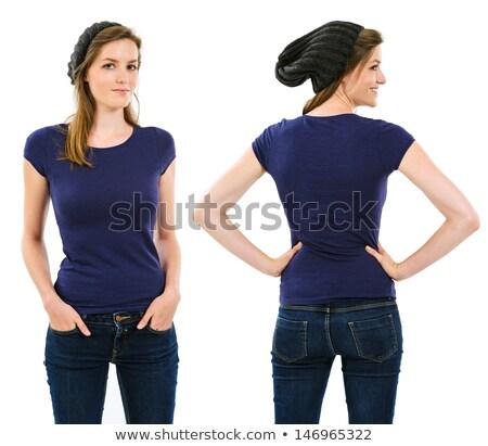 Vrouwelijke paars shirt foto lang haar Stockfoto © sumners
