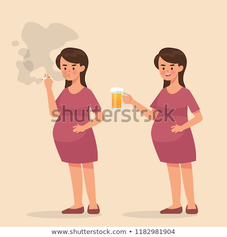 Woman smoking and alcoholic drinking Stock photo © Discovod