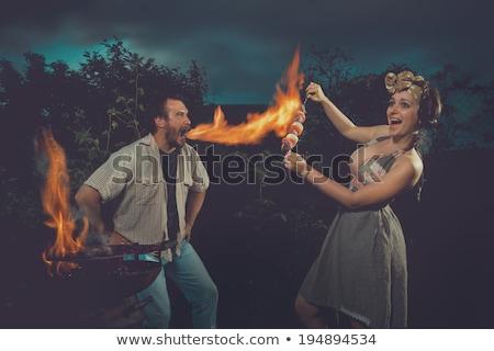 Girl And Fire Twirl Stock photo © derocz