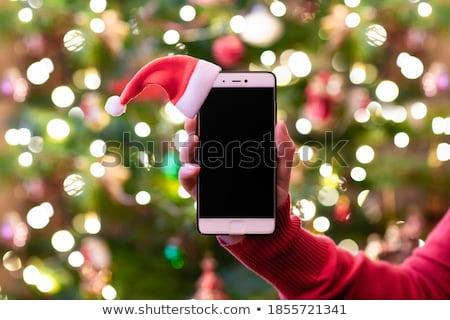 Cep telefonu noel ağacı kırmızı yalıtılmış beyaz ağaç Stok fotoğraf © impresja26