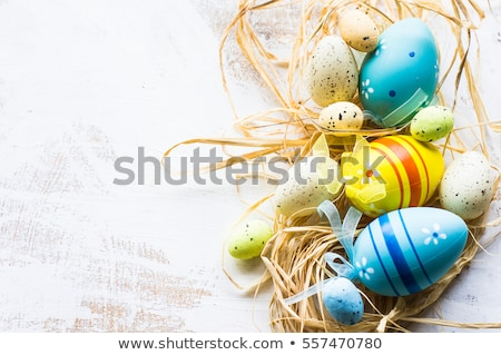 beautiful green easter card with symbols of spring stock photo © voysla