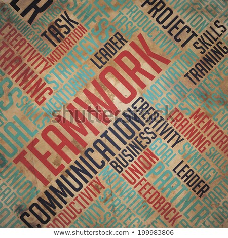 Teamwork  - Grunge Beige Wordcloud Concept. Stock photo © tashatuvango