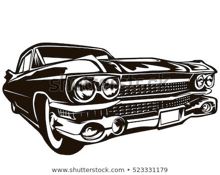 retro · autó · klasszikus · kormánykerék · sebességmérő · szalon - stock fotó © bmonteny