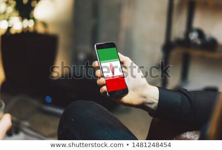 Stock fotó: Okostelefon · zászló · Irán · telefon · internet · telefon