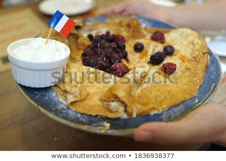 desszert · forró · vanília · puding · málna · sekély - stock fotó © raphotos