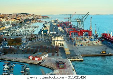 panorama · industriële · haven · container · kraan · schemering - stockfoto © joyr