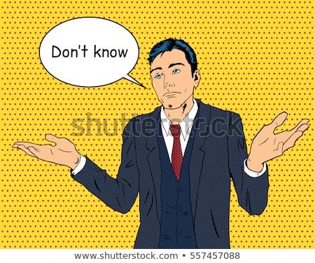 Rajz zavart középkorú férfi gondolatbuborék kéz férfi Stock fotó © lineartestpilot