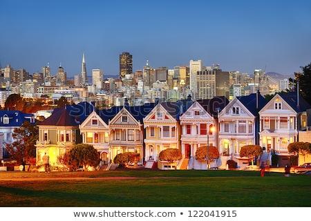 sziluett · festett · hölgyek · San · Francisco · városkép · történelmi - stock fotó © cboswell