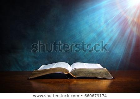 открытых · Библии · деревянный · стол · книга · молитвы · святой - Сток-фото © wavebreak_media