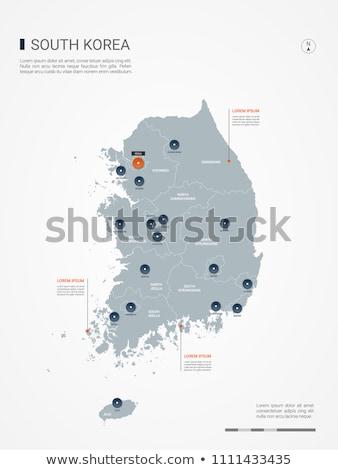 orange button with the image maps of South Korea Stock photo © mayboro