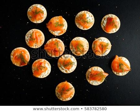 Füstölz lazac citrom tányér étel fény kövér Stock fotó © fanfo