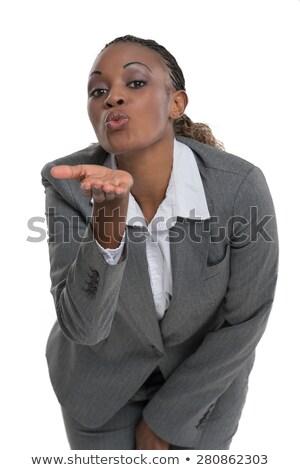 üzletasszony küldés üzletasszony kamerába izolált fehér Stock fotó © HASLOO
