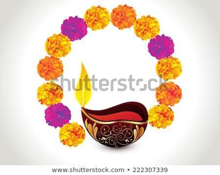 abstract artistic golden deepak on purple background stock photo © pathakdesigner