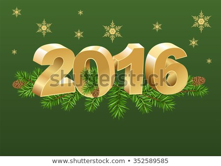2016 gold number and spruce branches Stock photo © orensila