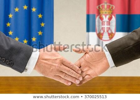 Eu Serbia Shake Hands ręce strony spotkanie Zdjęcia stock © Zerbor