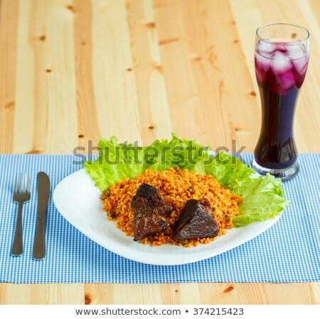 Сток-фото: блюдо · говядины · риса · Салат · листьев · стекла