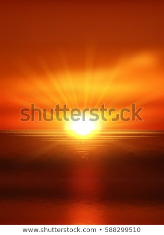 ストックフォト: 夏 · 日没 · eps · 10 · ハロー · 文字