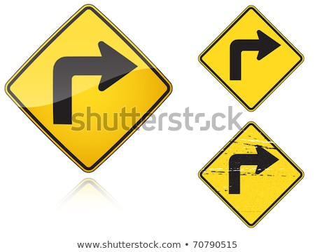 Set of variants Right Sharp turn traffic road sign Stock photo © boroda
