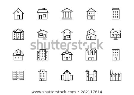 farm · épületek · vonal · ikon · háló · mobil - stock fotó © rastudio