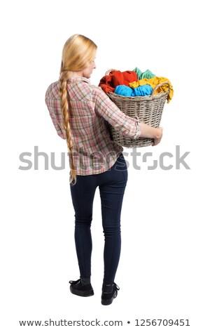 Stockfoto: Ongelukkig · vrouw · handdoek · haardroger · bed