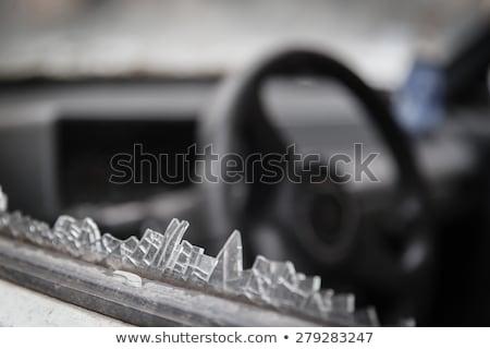 Törött ablak átlátszó mögött elhagyatott ház Stock fotó © sirylok