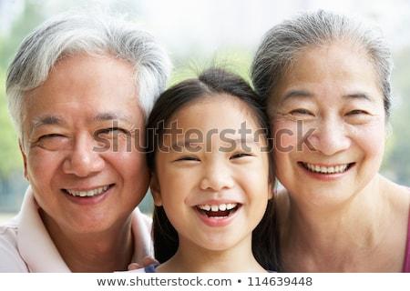 Három ázsiai emberek illusztráció fehér arc Stock fotó © bluering