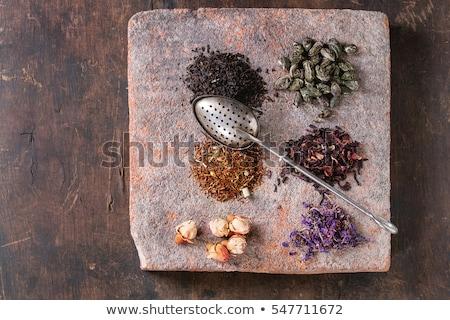 overhead view of dried hibiscus tea leaves stock photo © ozgur