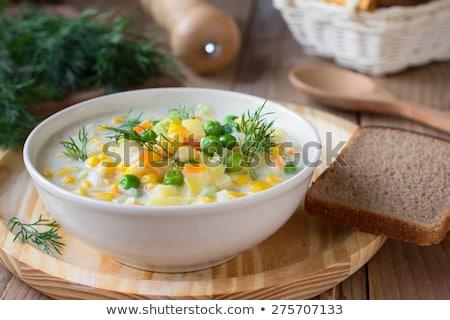 Hortalizas cremoso sopa casero negro cuchara de madera Foto stock © zhekos