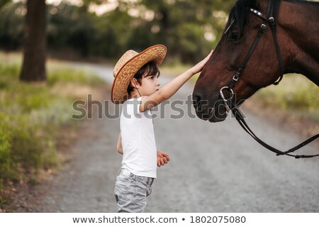 A boy and a horse Stock photo © bluering