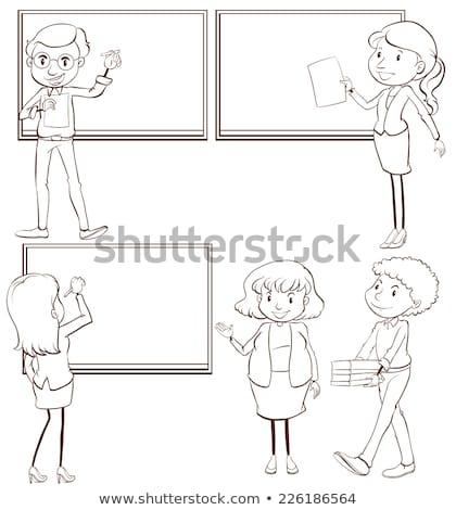Tanárok osztályterem illusztráció fehér lány férfi Stock fotó © bluering