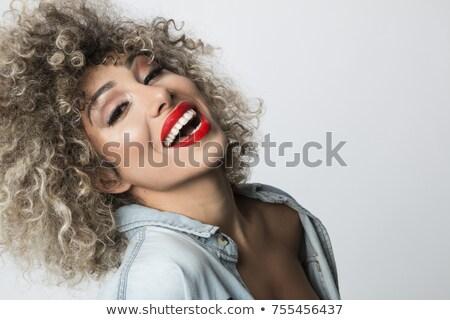 Retrato encantador mulher batom vermelho mulher bonita Foto stock © deandrobot