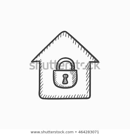 House with closed lock sketch icon. Stock photo © RAStudio