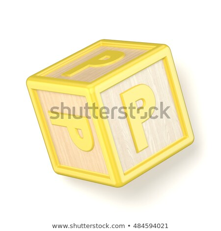 letter p wooden alphabet blocks font rotated 3d stock photo © djmilic