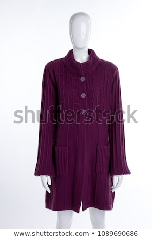 model · paars · cardigan · geïsoleerd · witte · vrouw - stockfoto © Elnur