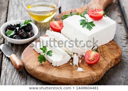 Fetasajt tál kockák étel sajt közelkép Stock fotó © Digifoodstock
