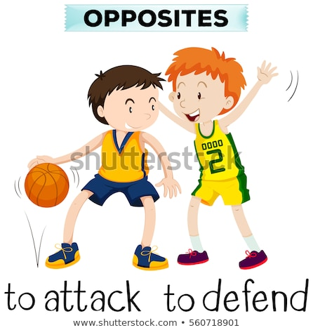 Opposite words for attck and defend Stock photo © bluering