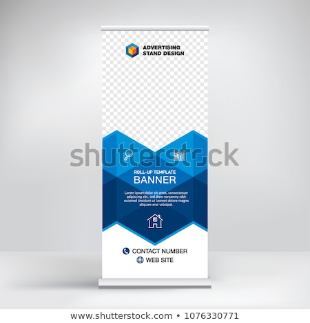 Stock photo: blue roll up display banner mockup template