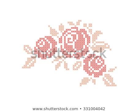 Knitted rose flower, vector illustration Stock photo © carodi