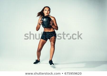 女性 · 薬 · ボール · ジム · 写真 - ストックフォト © sumners
