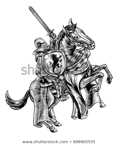 épée gravé illustration vintage main imprimer Photo stock © Krisdog