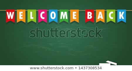 bem-vindo · de · volta · à · escola · cartaz · alto · detalhado · vetor - foto stock © sdcrea