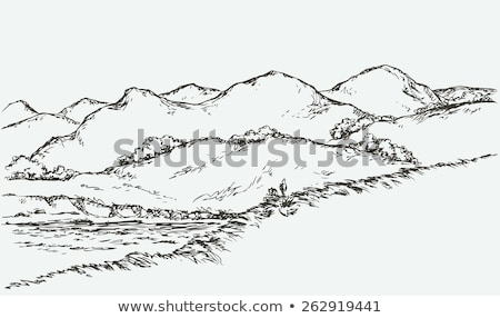 vectorized ink sketch of hills and river stock photo © cidepix