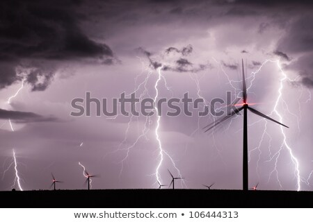 turbina · eólica · dramático · céu · nuvens · blue · sky · paisagem - foto stock © feverpitch