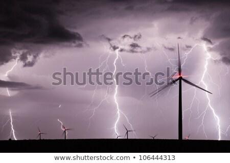 windturbine · dramatisch · hemel · wolken · blauwe · hemel · landschap - stockfoto © feverpitch