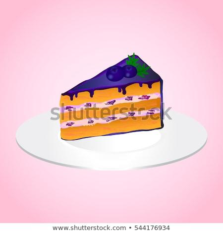 tasty dessert with bilberry cream and creamy mousse decorated wi Stock photo © Yatsenko