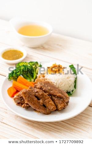Füstölt marinált marhahús vékony szeletek fehér háttér Stock fotó © Digifoodstock